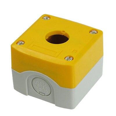 22mm Hole Yellow Gray Plastic Push Button Switch Holder Control Box