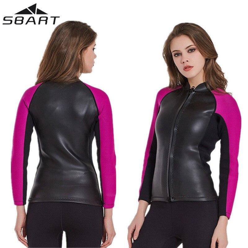 2MM Women's Neoprene Scuba Diving Wetsuit Jacket Long Sleeve Keep Warm Surfing Snorkeling Full Zip Jacket Wet Suit Tops Swimwear sleeve patched shoulder zip bomber jacket