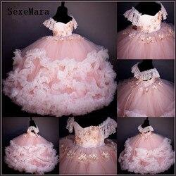 Новое поступление, Розовые Платья с цветочным узором для девочек, украшенные бисером цветы ручной работы религиозное платье для девочек, кр...