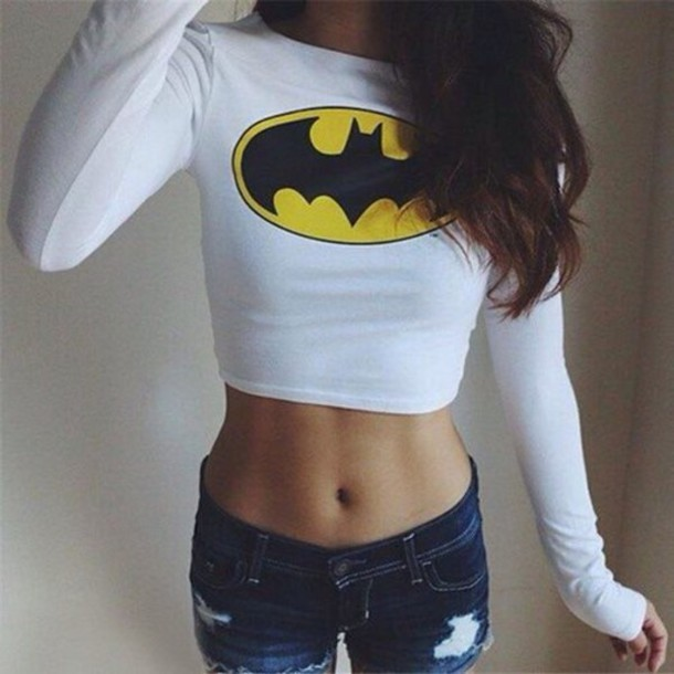Womens Batman Long Sleeve Crop top tshirt
