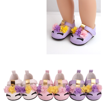 18 inch Girls doll shoes Unicorn shoes PU American newborn shoe Baby toys fit 43 cm baby dolls s230 недорого