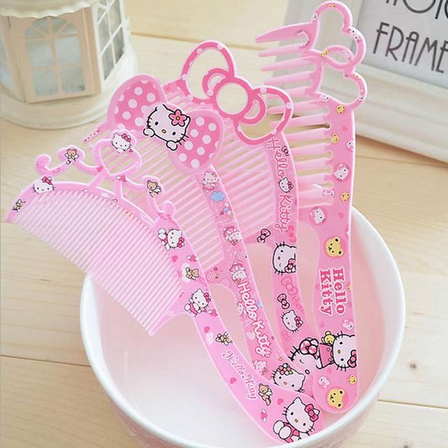 2pcs/lot Hot Sale Cute Cartoon Kitty Plastic Kids Children Hair Brush Girls Hairbrush High Quality Hair Comb Girls Hairdresser