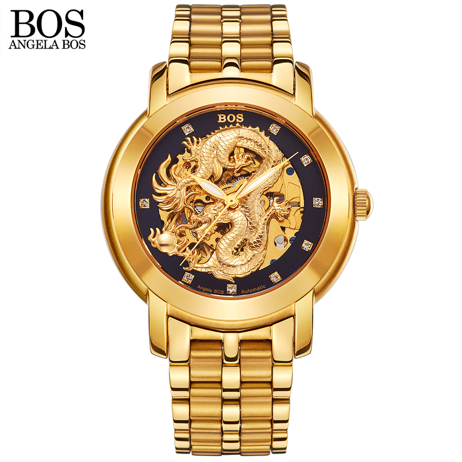 ANGELA BOS 3d Carving Fashion Casual Stainless Steel Men Skeleton Watch Mens Watches Top Brand Luxury Automatic Gold Watch tevise fashion auto date automatic self wind watches stainless steel luxury gold black watch men mechanical t629a with tool