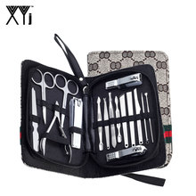 hot deal buy xyj 16 pcs/set manicure set nail clippers with catcher manicure tools kit nail art tools toe nail care pedicure kit with case