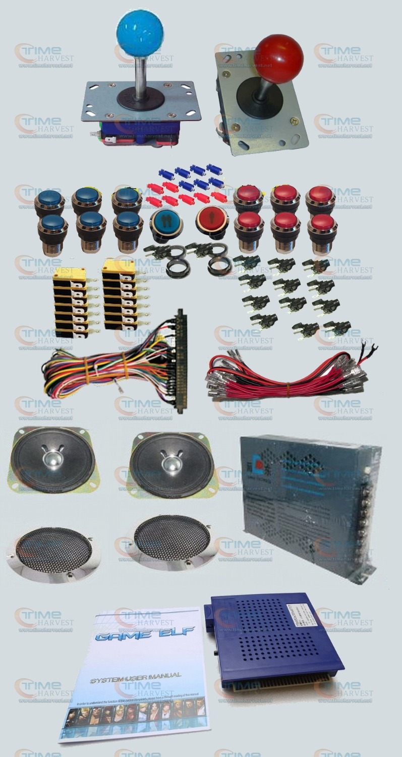 Arcade parts Bundles kit with Game elf 750 in 1 Joystick Microswitches Silver Plated Button To Build Up Arcade Cabinet Machine twister family board game that ties you up in knots