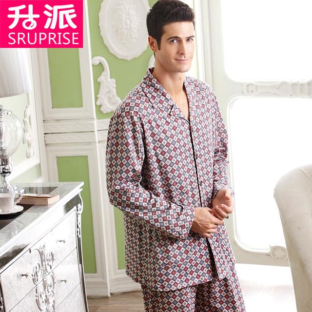 Pijamas de Algodão dos homens Novos da marca Homens Xadrez Tecido Pijama Dos Homens da Longo-luva Pijamas para Homens Sleepwear Pijama De Malha Entrega gratuita