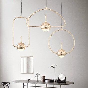 Ouro Estilo Nórdico Moderno Pingente Simples Luz de Vidro Criativo FERRO Lustre Sala de estar Quarto Restaurante Iluminação Personalidade