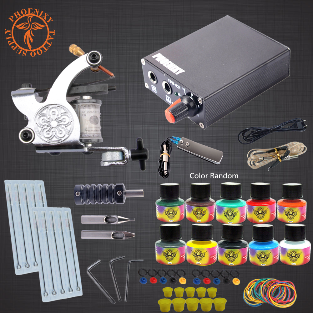 High Quality Complete Tattoo Kit 1 Tattoo Machine 10 Colors Ink Set Power Supply Box Body Art Supplies Needles Tips hot tattoo kit full set accessary tattoo kit machine gun power supply needles grip tip ink