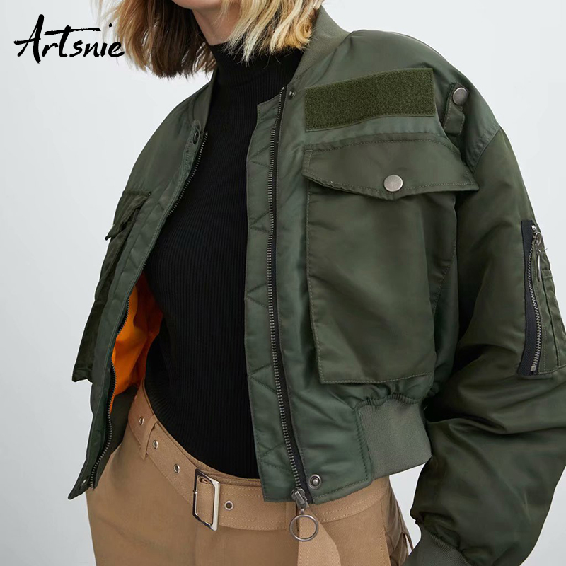 Artsnie Double Pockets Army Green Bomber Jacket Women Autumn Winter 2019 Streetwear Casual Basic Coats Jackets Chaqueta Mujer