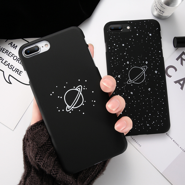 Women's Stylish Black Plastic Phone Case with Space Themed Pattern for iPhone