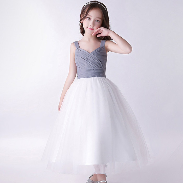e33b42f11f6 Elegent Children Girls Clothes Party Flower Girl Dress Princess Gray White  Vestidos For 4 6 8 10 12 14 Years Old RKF184037