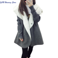 Fleece Cardigans Women 2017 Autumn Winter Warm Thicken Women Wool Blends Coat Long Loose Casual Hooded