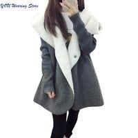 Fleece Cardigans Women 2017 Autumn Winter Warm Thicken Women Wool Blends Coat Long Loose Casual Hooded