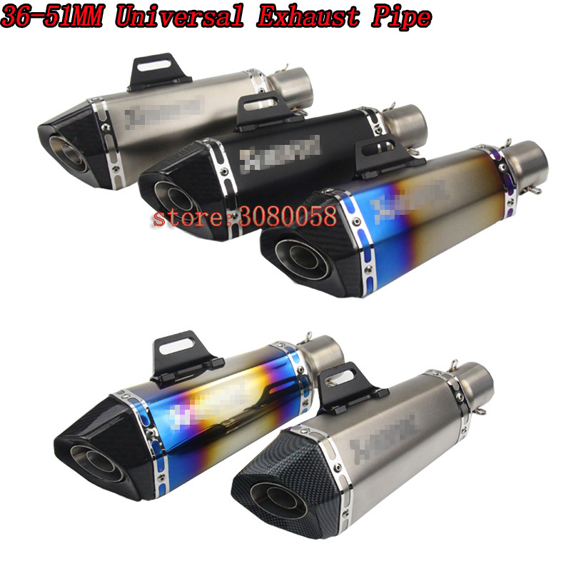 2017 New Universal Motorcycle Exhaust Pipe Carbon Fiber Modified Scooter Muffler Motorbike db killer For R25 Z750 Ninja250 MT-09