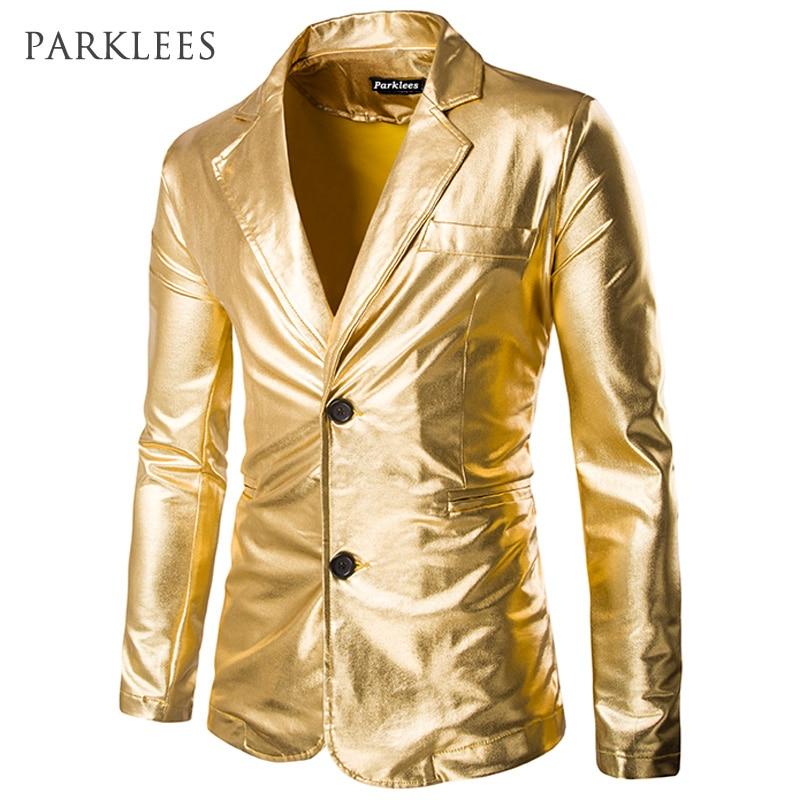 Gold Shiny Blazer Men Coated Metallic Night Club Herrenanzugjacke - Herrenbekleidung