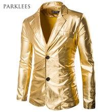 Blazer dorado brillante hombre recubierto metálico noche Club hombres traje  chaqueta Blazer Casual Slim Fit Hip Hop disfraces Si. c1f4e6ba393