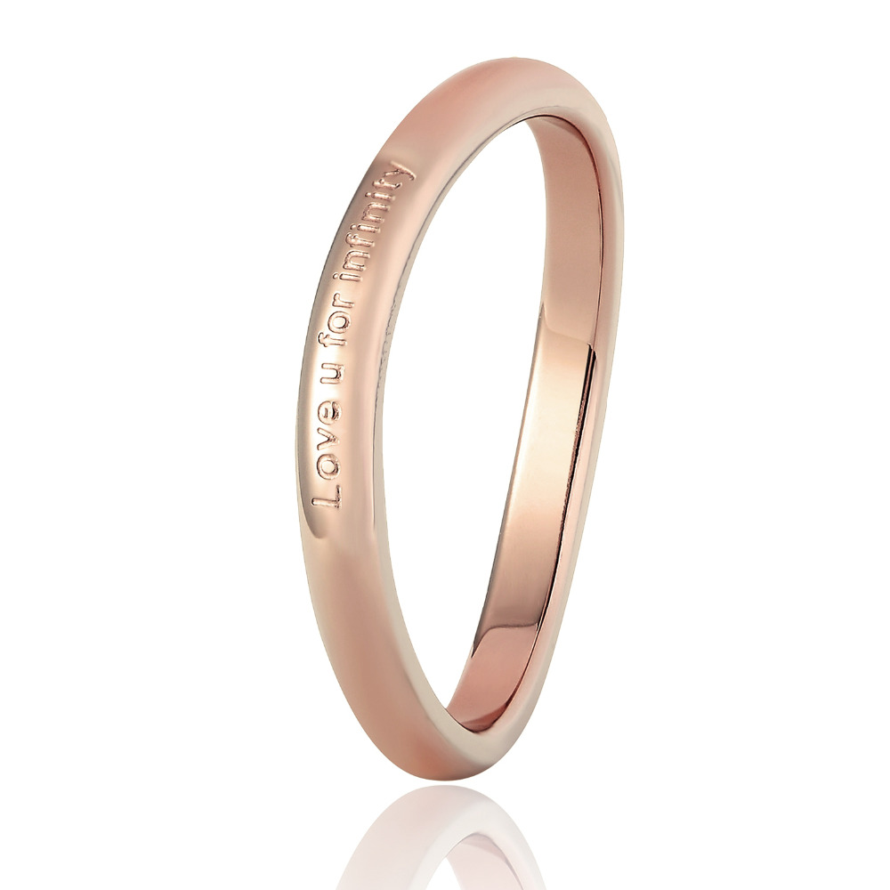 New design Love U For Infinite Shaped Curved Ring Stainless Steel Rose Gold Color Saving Personality Trendy Tail Ring For Women