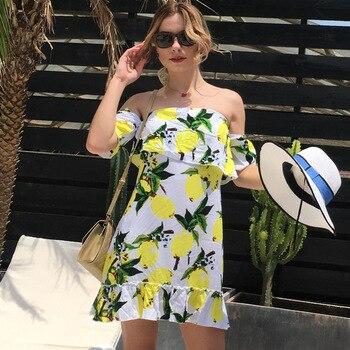645e13b7c0 LOSSKY hombro volantes vestido Sexy sin tirantes cuello barra Mango Boho  Verano de 2018 las nuevas mujeres de playa vestidos túnica femme