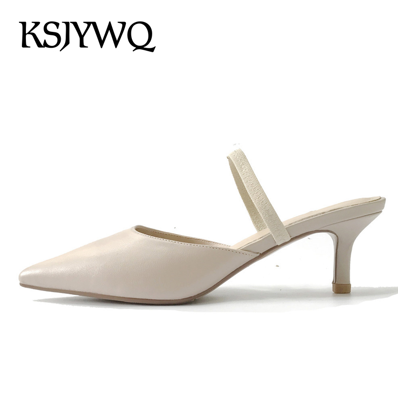 KSJYWQ Women Mules Real leather High Quality Summer Slippers for Woman Shoes 5 cm Thin heels Pointed-toe Shoe Box Packing XJ062  ksjywq genuine leather flowers women sandals sexy exposed toe white shoes summer style clip toe shoes woman box packing a2571