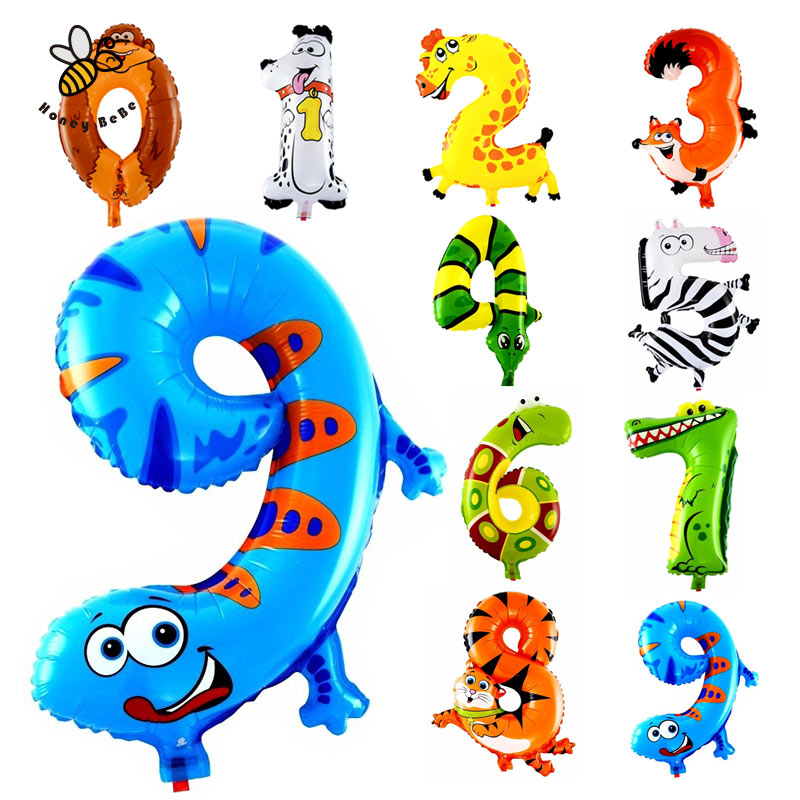 1pcs animal number foil inflatable balloons wedding happy birthday decoration air balloons party balloon children s