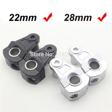 Black Universal Anodized 2 Inch Pivoting Motorcycle Handlebar Riser For 7/8 22mm Bars Clamp