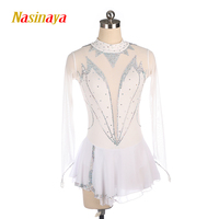 Nasinaya Figure Skating Dress Customized Competition Ice Skating Skirt for Girl Women Kids Gymnastics Performance White