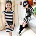 Girls dress striped cotton vest hit the color package hip long-sleeved dress best-selling  new children's clothing necessary