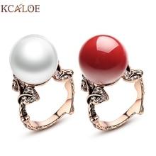 Anillo cristalino de La Joyería de Perlas de Coral rojo Natural de Concha de Perla Anillos de Boda Anillos Mujer Vintage Rose Joyas de Oro Tallado