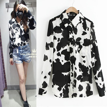 ee12df834b Topshop 2014 spring cow print faux silk long-sleeve turn-down collar  chiffon shirt