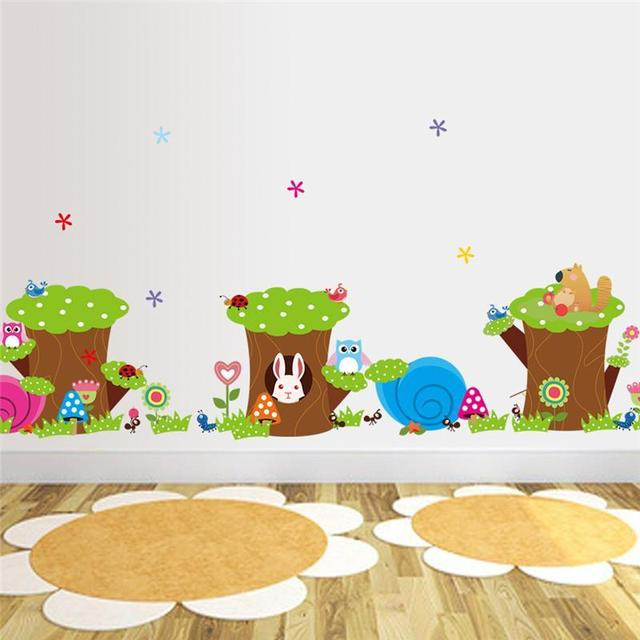 Cute Owl Rabbit Aut Flower Tree Wall Stickers For Kids Rooms Home Decor Cartoon Animals