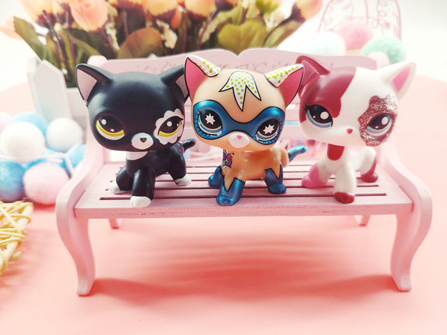 LPS Pet Shop Cute Short Hair Cat Toys Great Dane Collie Dogs PVC Action Stand Figure Toys Cosplay Dolls Model Toy Gifts For Kids 3