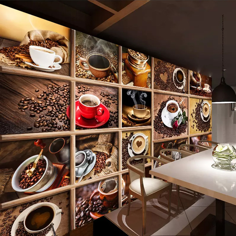 Custom Mural Papel De Parede Coffee Beans Coffee Cup 3D Photo Wallpaper Cafe Restaurant Living Room Kitchen Decorative Wallpaper