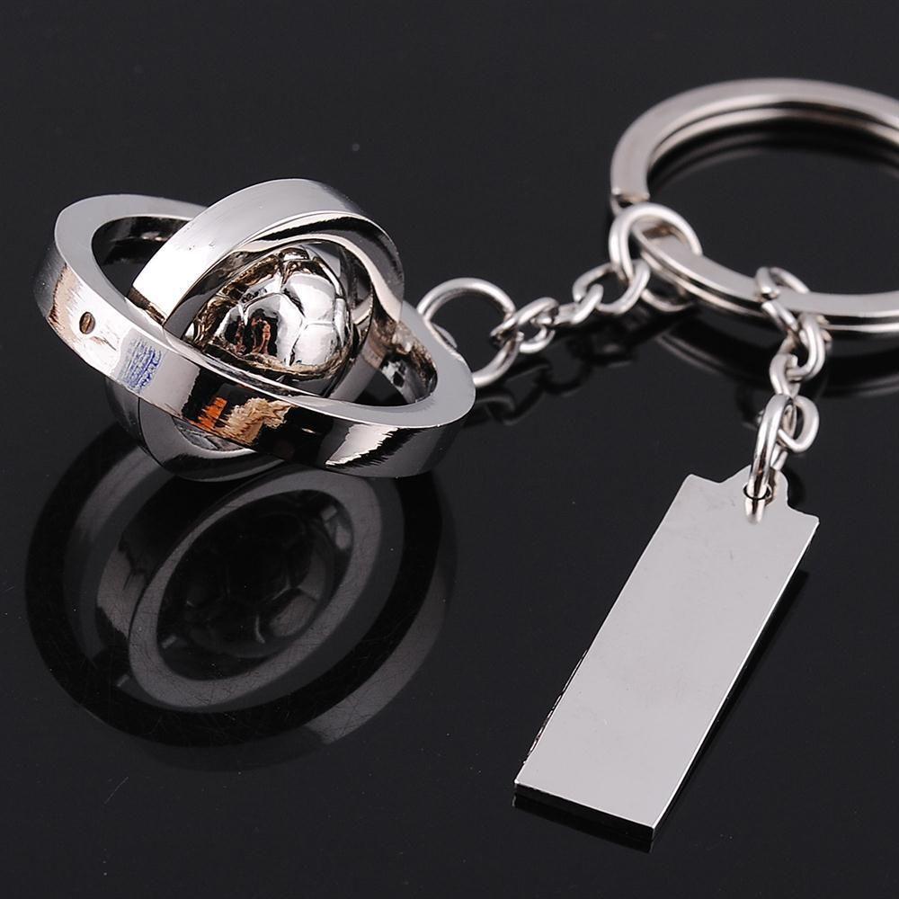 200 PCs creative mens world cup football golf key chain mini simulation rotating key chain pendant