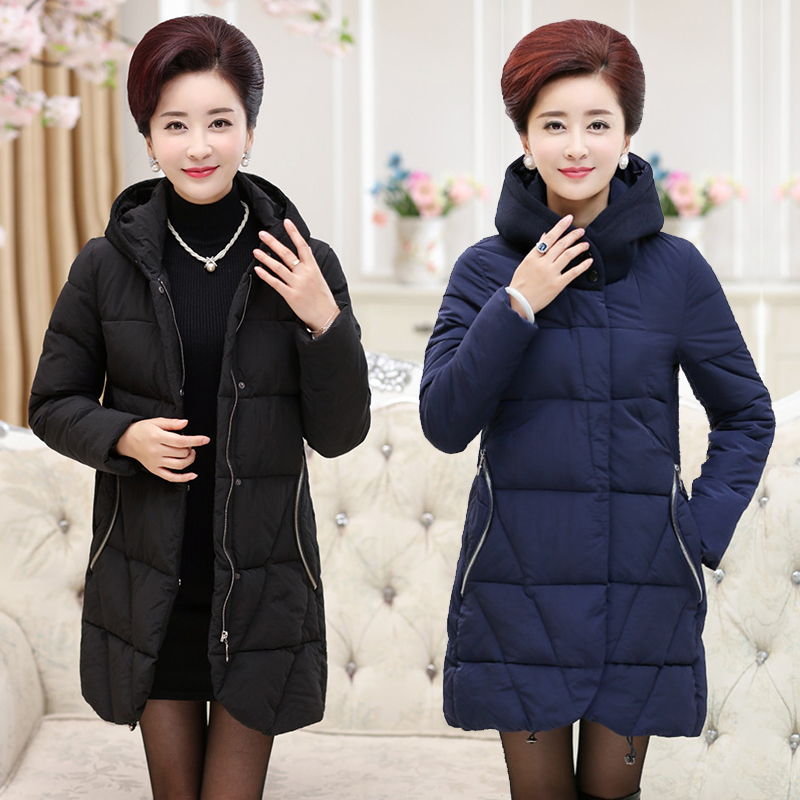 2017 In the elderly women 's Spring and winter women' s cotton large yards mother loaded down jacket long thick coat jacket in the elderly cotton down jacket women s winter coat thickening plus cashmere