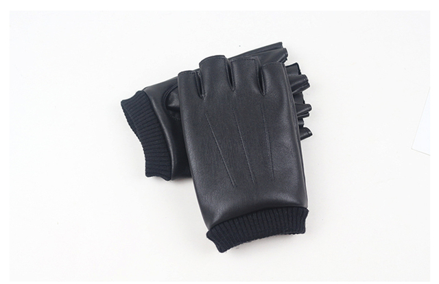 Men PU Leather Gloves High Quality Slip-resistant Luvas Half Finger Velvet Fingerless Gloves gants moto Autumn Winter Guantes
