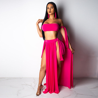 Women 3 Pieces Bikini Set 2019 Sexy Strappy Swimsuit Swimwear + Cover Ups Brazilian Beachwear Solid Off Shoulder Bandeau Biquini