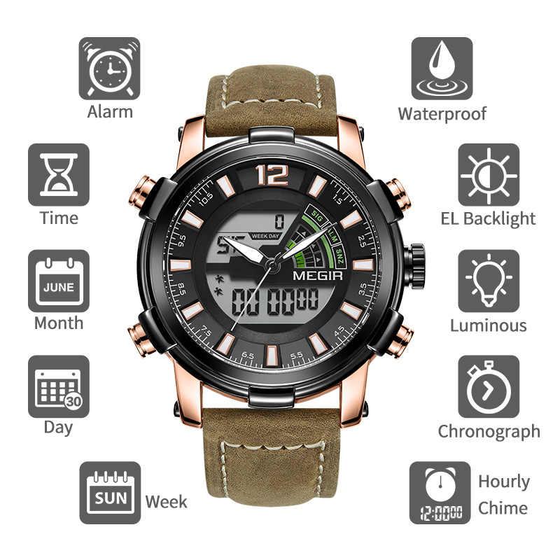 MEGIR hommes montre Top marque de luxe chronographe militaire sport montre-bracelet analogique Quartz numérique horloge mâle Relogio Masculino 2019