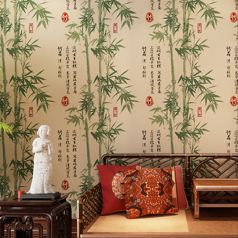 все цены на  Chinese Style Classical 3D Bamboo Wallpaper Design Green Grey Yellow Wall Paper Roll for Living Room Study Room Background Walls  онлайн
