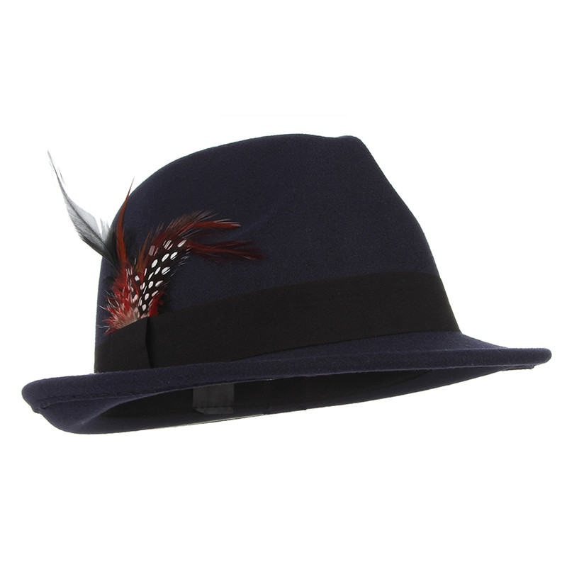 Men Wool Fedoras Solid Color Jazz Cap with Feather Euramerican Style Wool Felt Trilby Cap Male Casual Church Fedora Hat