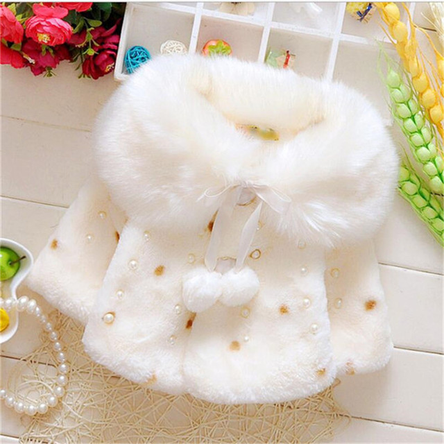 2016 fashion baby girl faux fur coat cute pearl polka dot princess outerwear for winter warm comfortable baby clothing