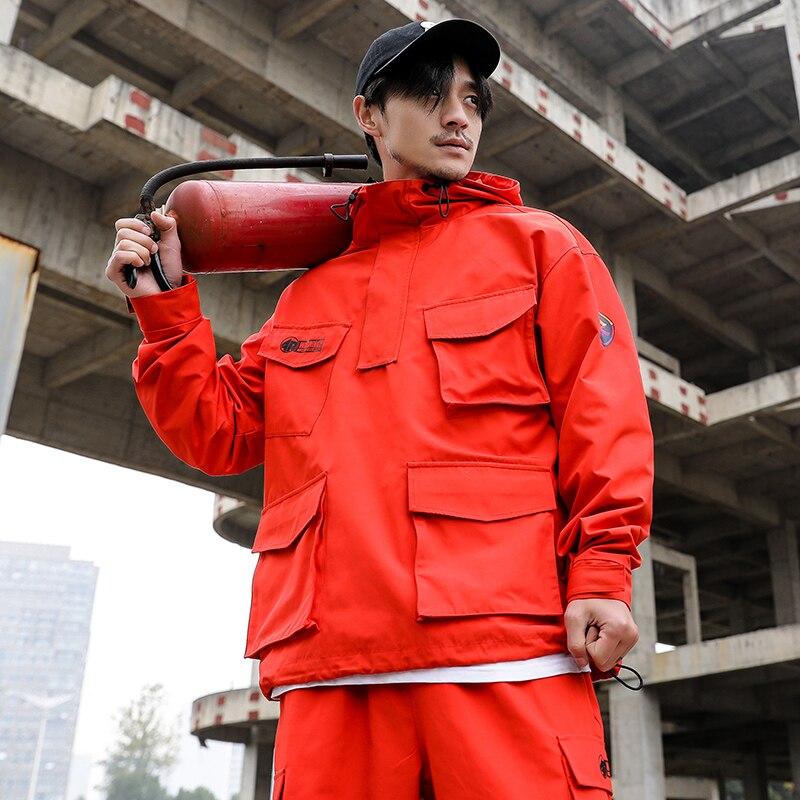 Для мужчин Multi-карман оснастки пуловер куртка с капюшоном японский Стиль мужской моды Повседневное пальто свободного кроя
