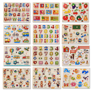 Image 4 - 30cm Kid Early educational toys baby hand grasp wooden puzzle toy alphabet and digit learning education child wood jigsaw toy