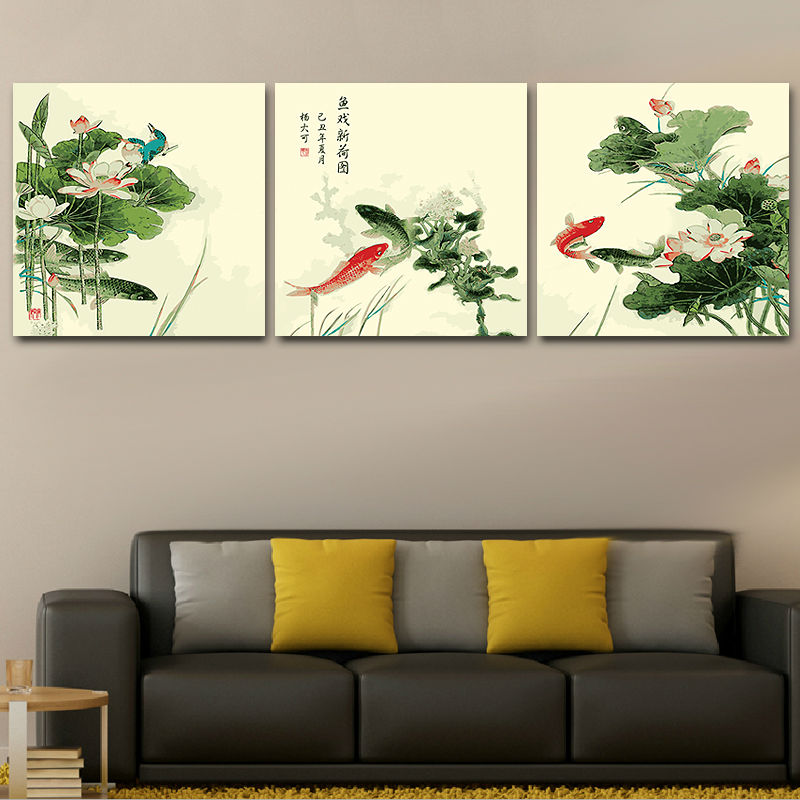 China style paiting koi fish modular painting coloring by for Koi home decor