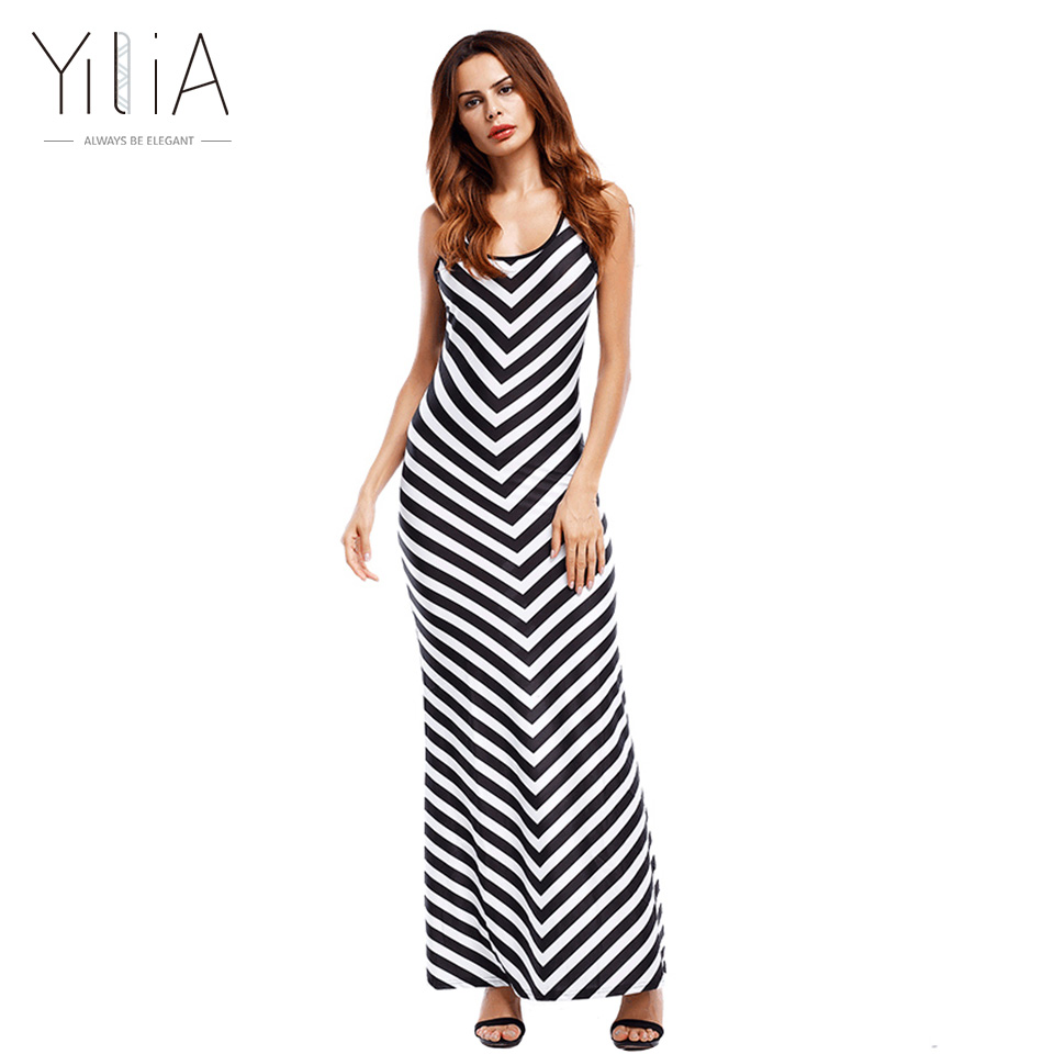 yilia brief long summer dress 2017 new casual beach cotton maxi sleeveless tank black white stripe