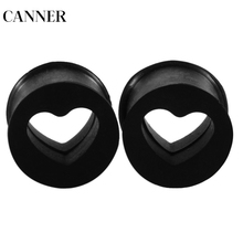 CANNER Black Heart Acrylic Flesh Tunnel Plug Jewelry Body Piercing Stretcher Expander Ear Gauge Earlets Earring Expansion R4