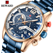 цена Watch men's fashion quartz watch three-eye sports multi-function steel belt men's watch luxury fashion waterproof watch онлайн в 2017 году