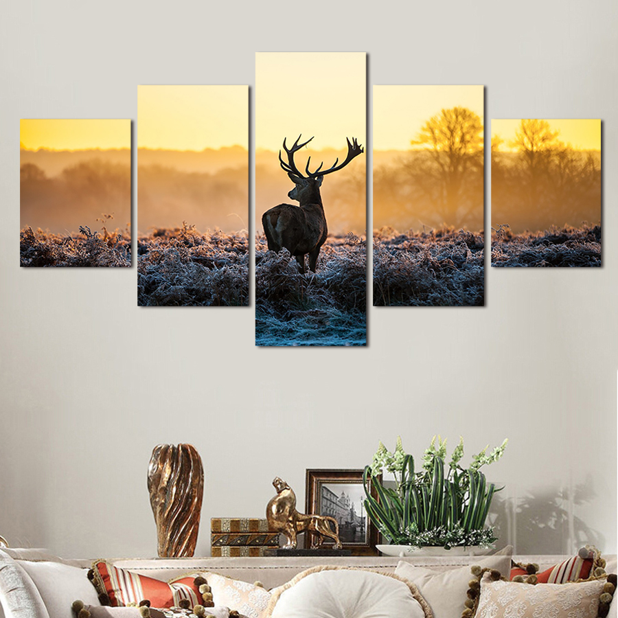 online get cheap framed sports posters aliexpress com alibaba group 5 pieces painting wild deer hd canvas prints wall art home decor panels sport poster for