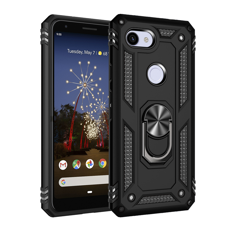 Hybrid TPU PC Shockproof Cell Phone Case for Google Pixel 3A 4 XL with Barcket Ring