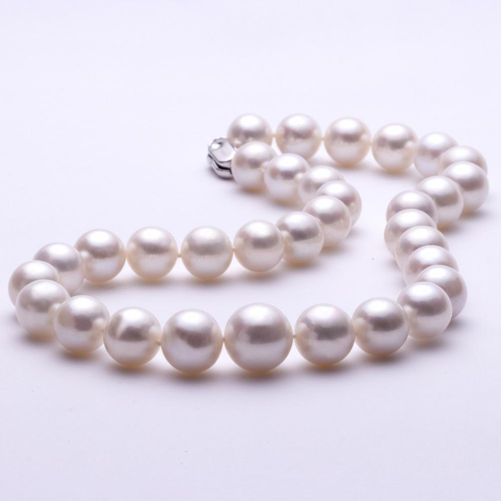 Women Gift word 925 Sterling silver real 13 16mm round super large rare giant light freshwater pearl jewelry necklace 8954 in Chain Necklaces from Jewelry Accessories