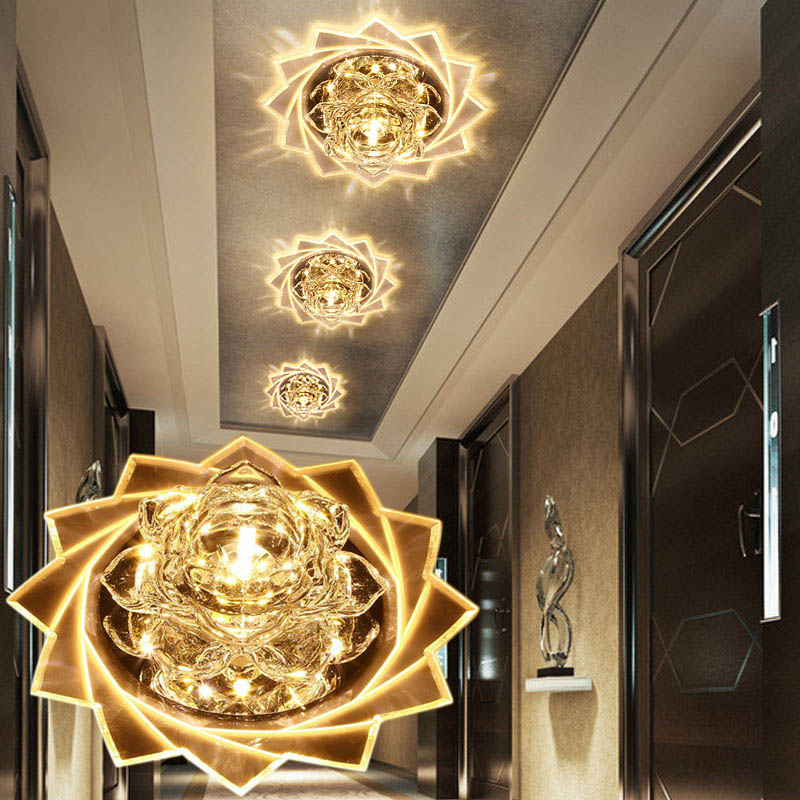 LAIMAIK cristal luz de techo LED 3 W 5 W moderna LED cristal luz de techo pasillo luz LED AC90-260V luces de techo de loto